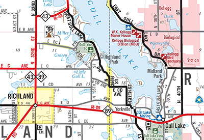 kalamazoo county official road map 2016 front close up